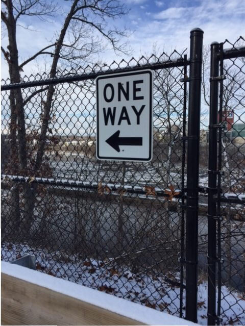 One Way Parking Lot Sign