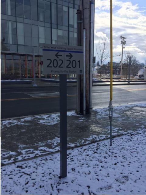 Metered Parking Space Number Sign
