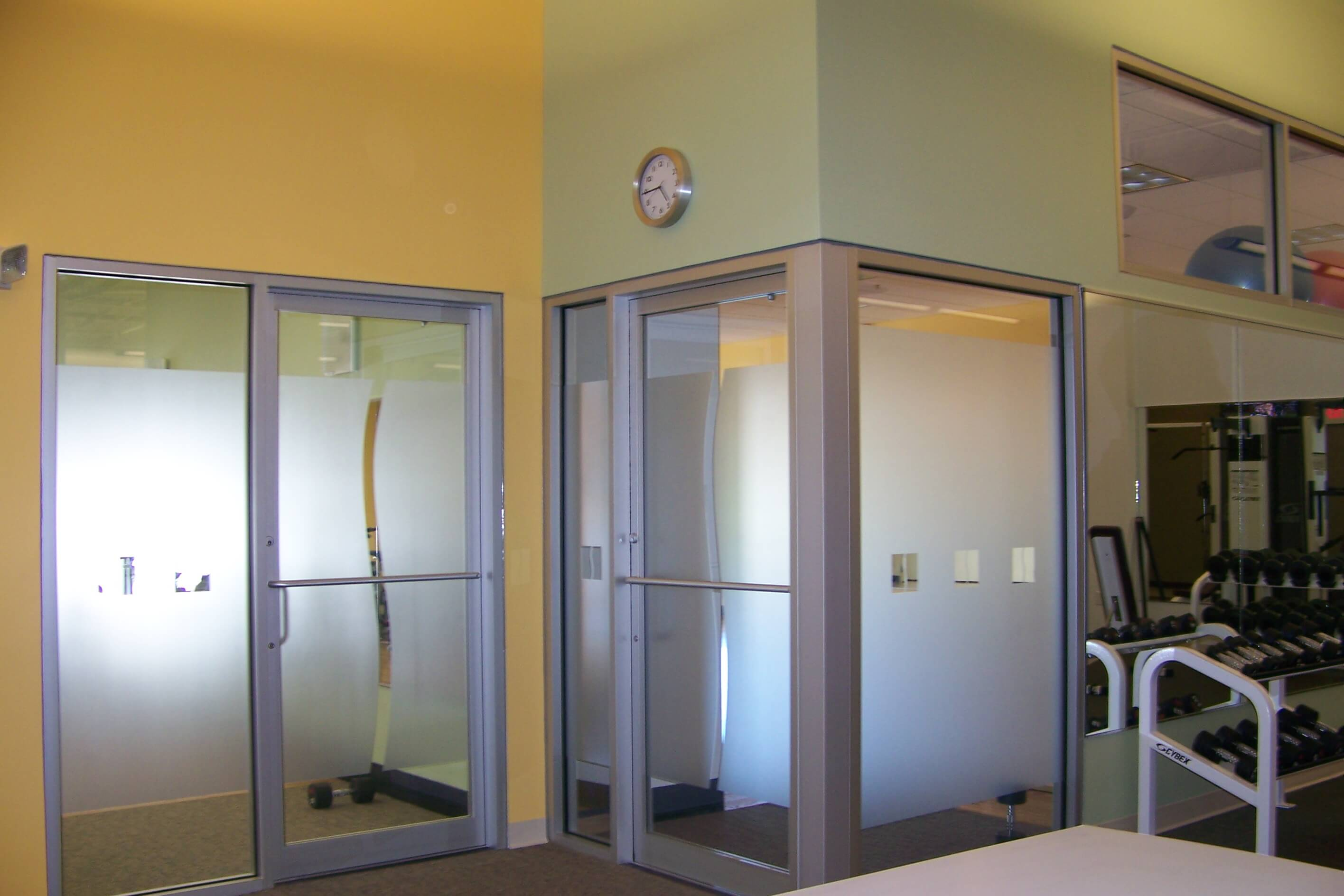 Frosted Etched Windows and Doors for Gym Hingham MA