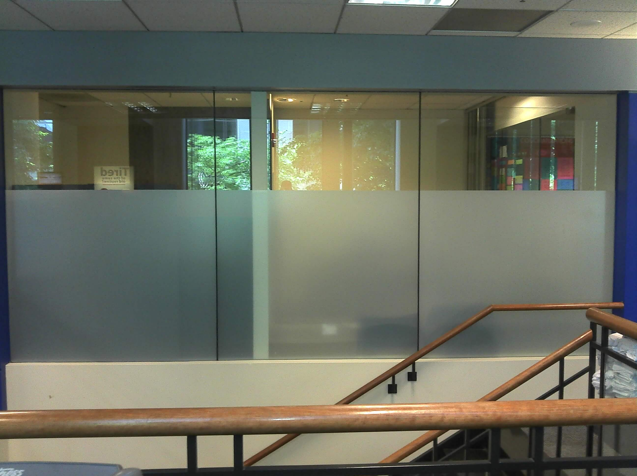 Frosted Glass Privacy Coating for Conference Room
