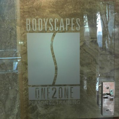 Frosted Vinyl Window Logo - Bodyscapes One2One