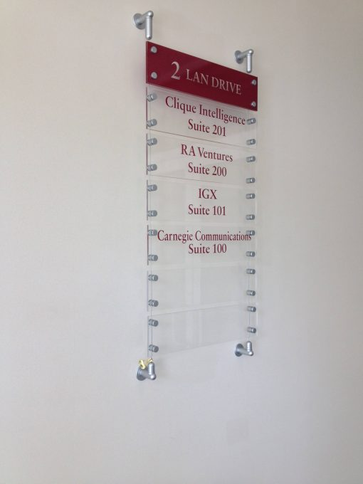 Cable and Rod Signs and Displays for Indoor Business Listing