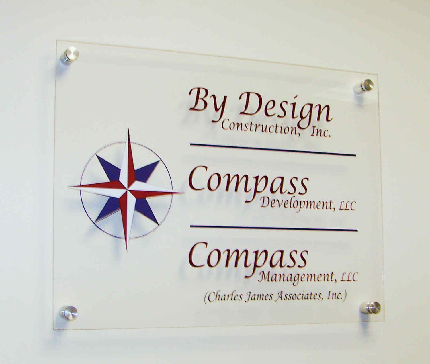 Acyrlic Sign with Standoffs and Vinyl Graphics