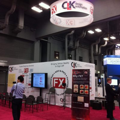 Tradeshow booth with ceiling mounted sign