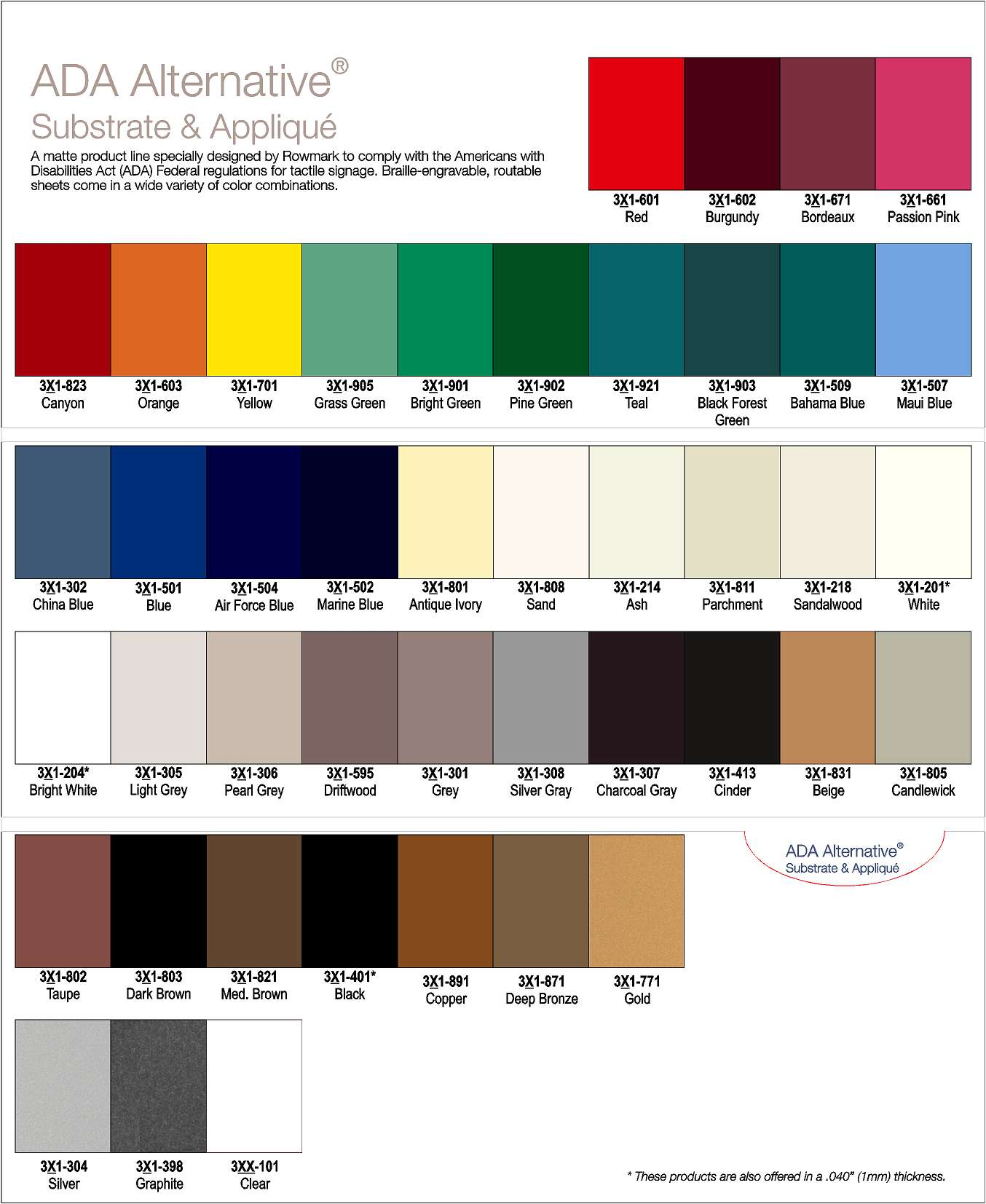 ADA Approved Colors