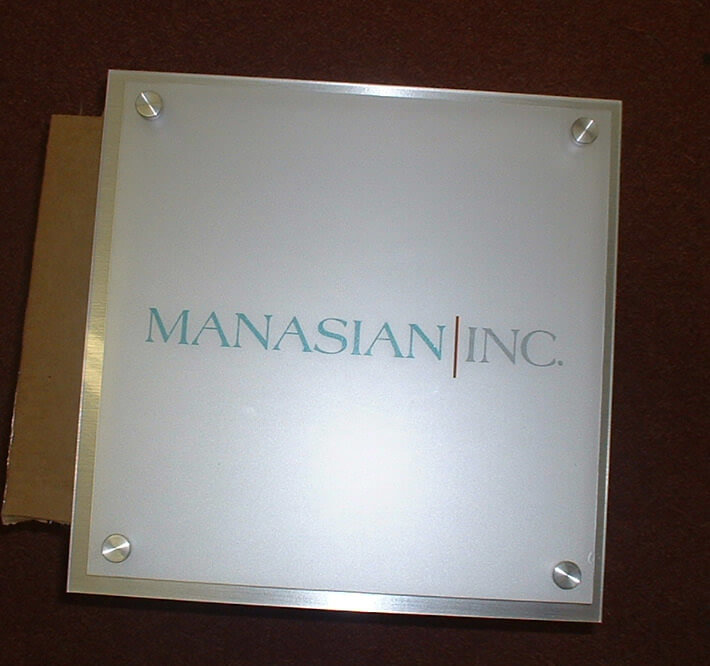Clear Acrylic with Applied Frosted Vinyl and Vinyl Graphics