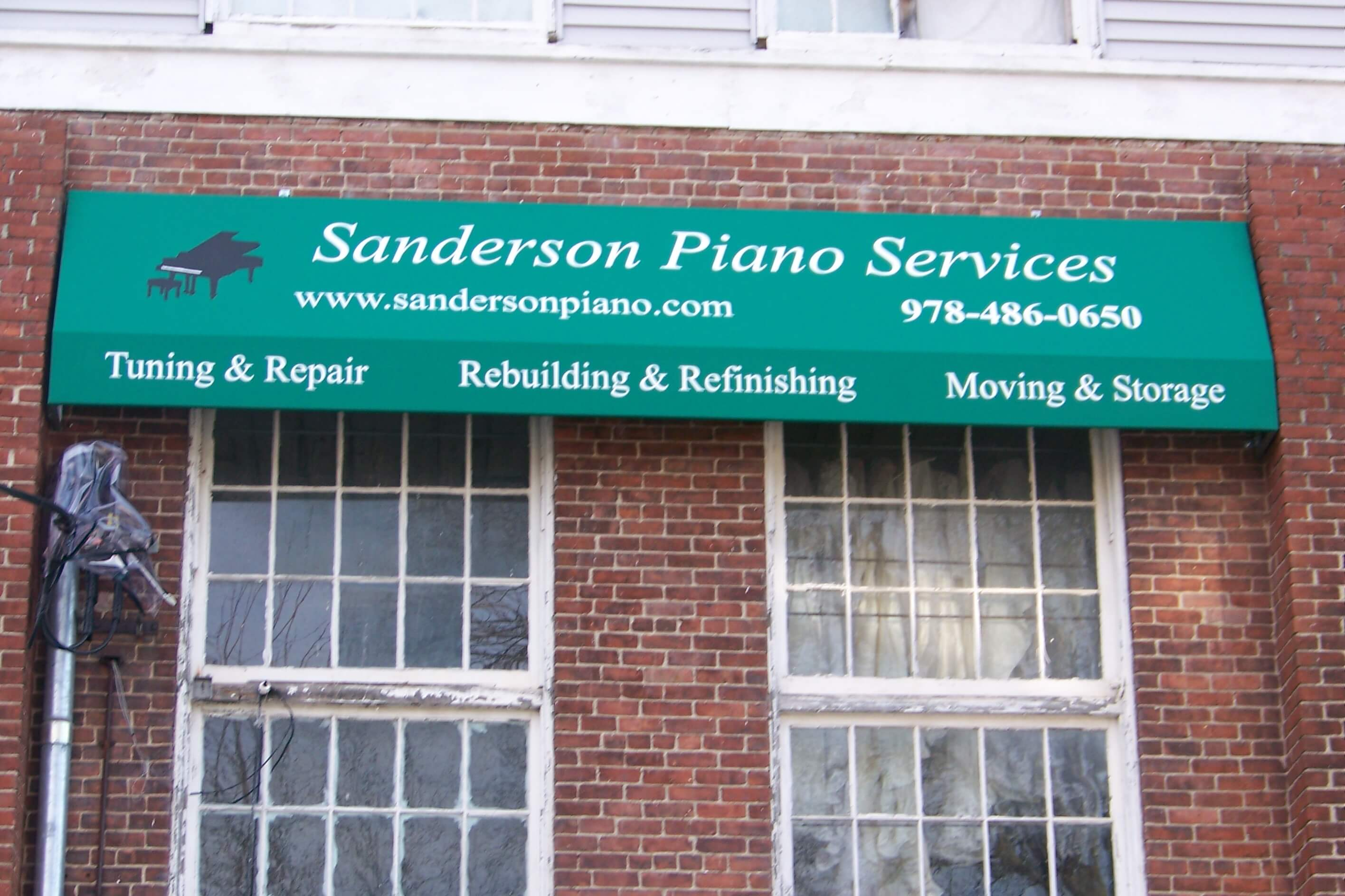 Fabric Awning with Painted Graphics - Sanderson Piano Services