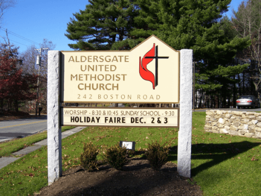 Double Sided Post Mount Carved Church Sign - Chelmsford, MA