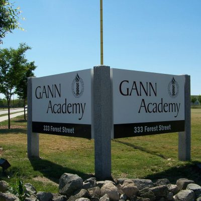 Gann Academy Aluminum Box Monument Sign