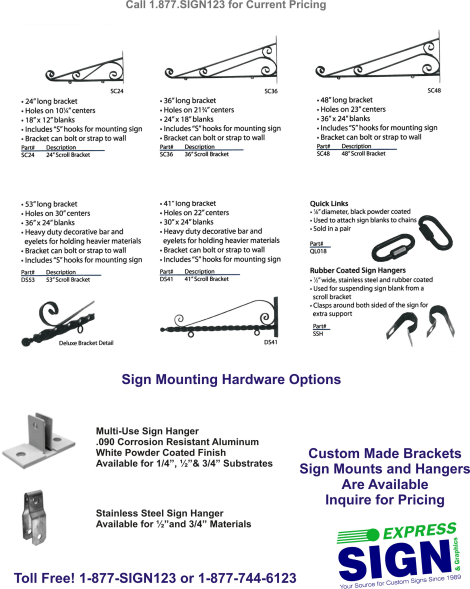 Sign Scroll Bracket Options