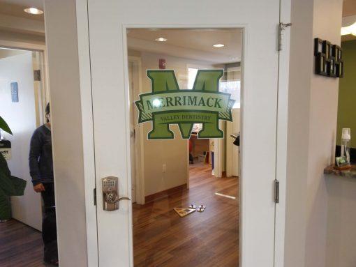 Full Color Door Window Decal - Merrimack for dental office