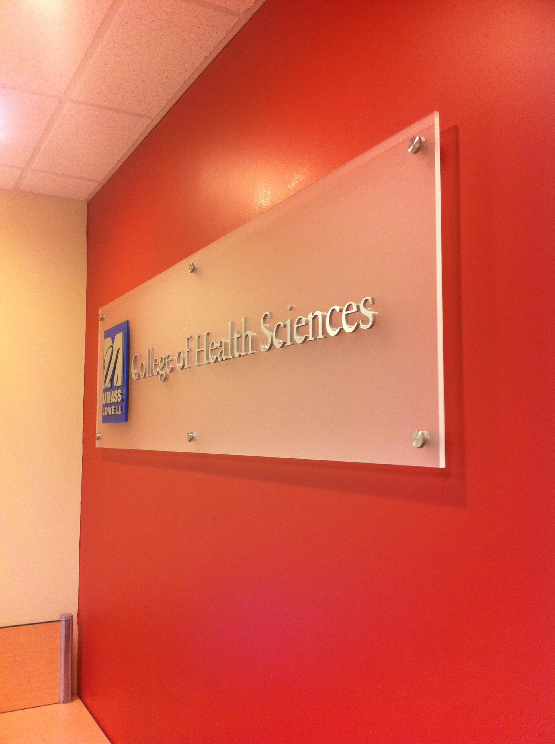 UMass Lowell Acrylic Dimensional Department Sign