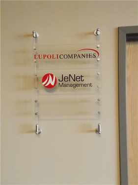 Acrylic Lobby Directory with Cable System Mounting