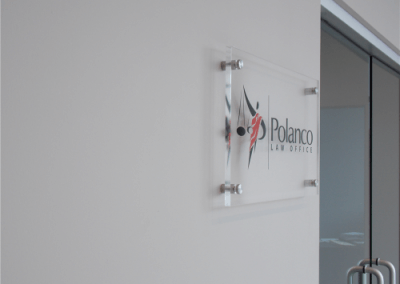 Clear Acrylic Office Sign with Polished Edges