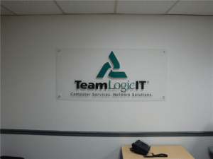 Office Sign Acrylic Panel with Vinyl Logo Sign and Standoffs