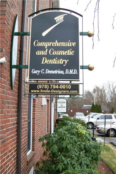 Carved Dentist Sign with Raised Elements and Custom Bracket - Andover, MA