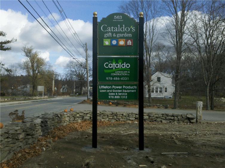 Custom 2 Sided Carved Sign with Dimensional Logos Littleton, MA