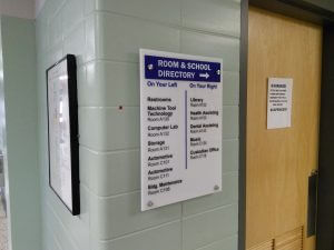 Interior Wayfinding System using our Flex-System High School Sign Revamp Project