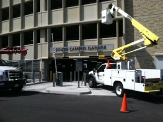 Parking Garage Sign Installation at UMASS Lowell
