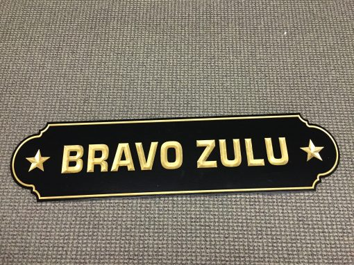 Carved Gold Leaf Bravo Zulu