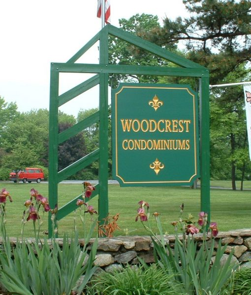 Woodcrest Condominium Carved Sign