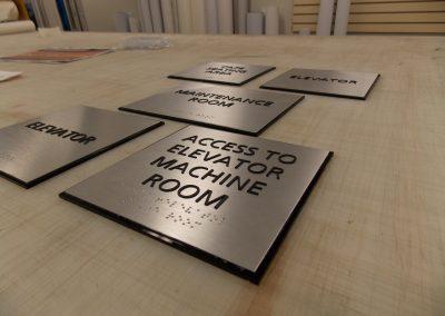 Custom Brushed Silver ADA Room Signs